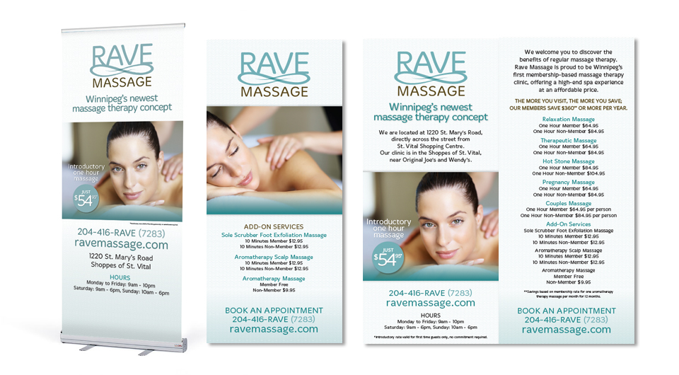 Rave Massage Marketing Materials